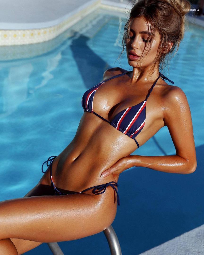 Bademode Striped Printed Frauen Badeanzug Frauen-Verband Push Up Paded Bikini Set Hot Badeanzug Strand
