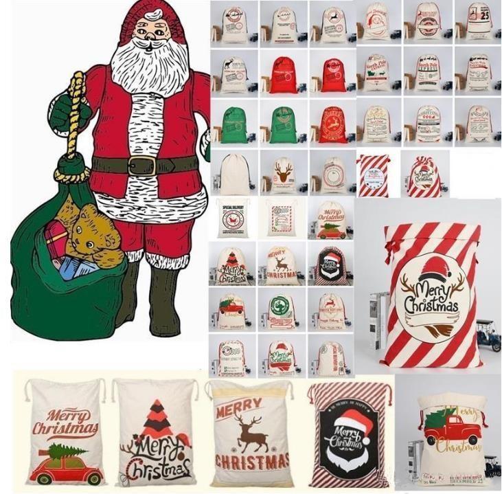حقيبة هدية عيد جديدة مع الرنة سانتا كلوز كيس القطن حماية البيئة حزمة الفم قماش حقيبة موس عيد الميلاد