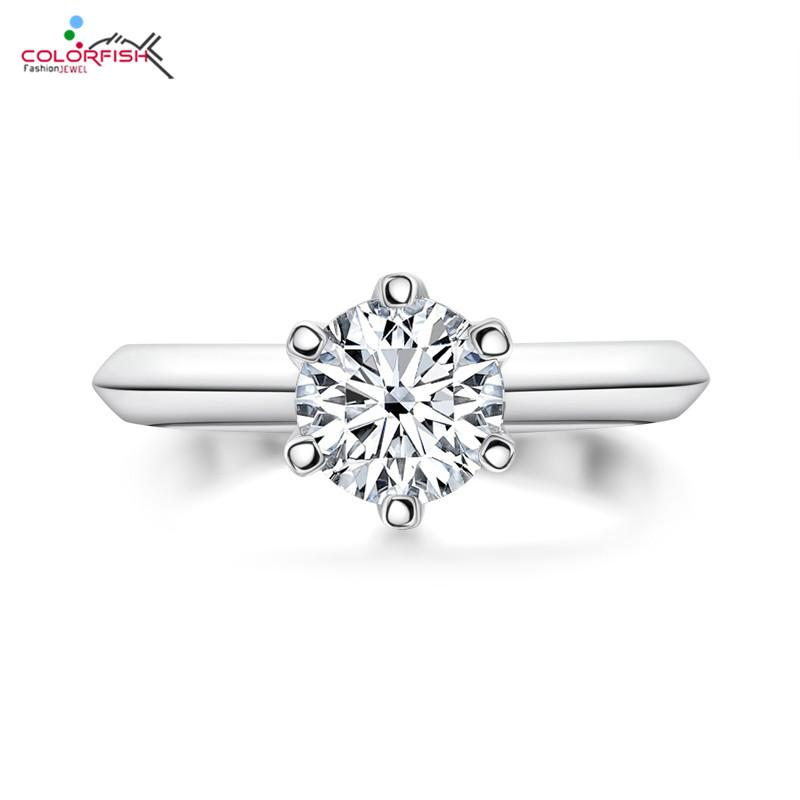 COLORFISH Round Cut 2ct 8mm Moissanite Solitaire Engagement Ring 925 Sterling Silver Wedding Jewelry Rings for Women