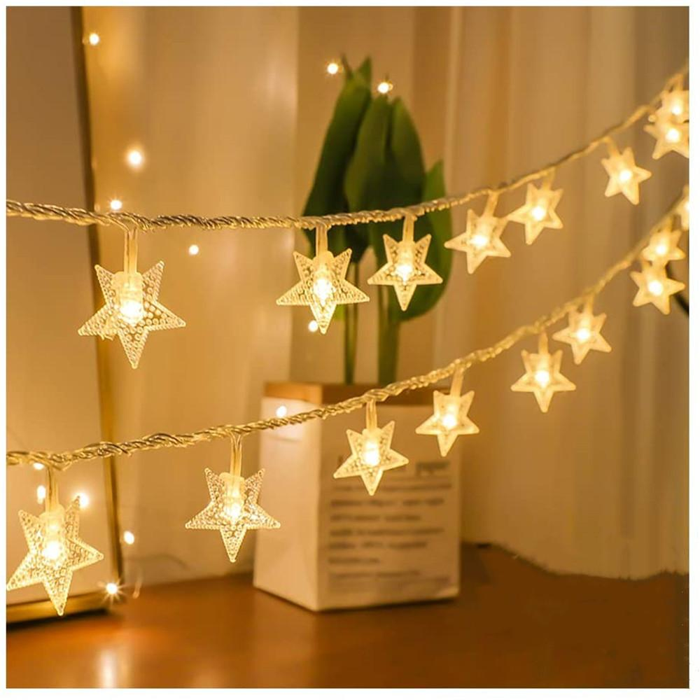 AC 220V LED Star Light Cordas Twinkle Guirlandas Ligue Holiday Party Lâmpada do Natal do casamento decorativas luzes feericamente 6M 40LEDs