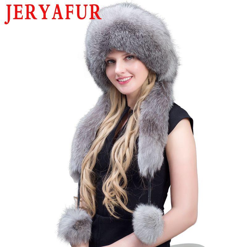 قبعة / جمجمة قبعات jeryafur واقع سيدة فضة لي فنغ الشتاء الدافئ قبعة سميكة الفراء ماو 5