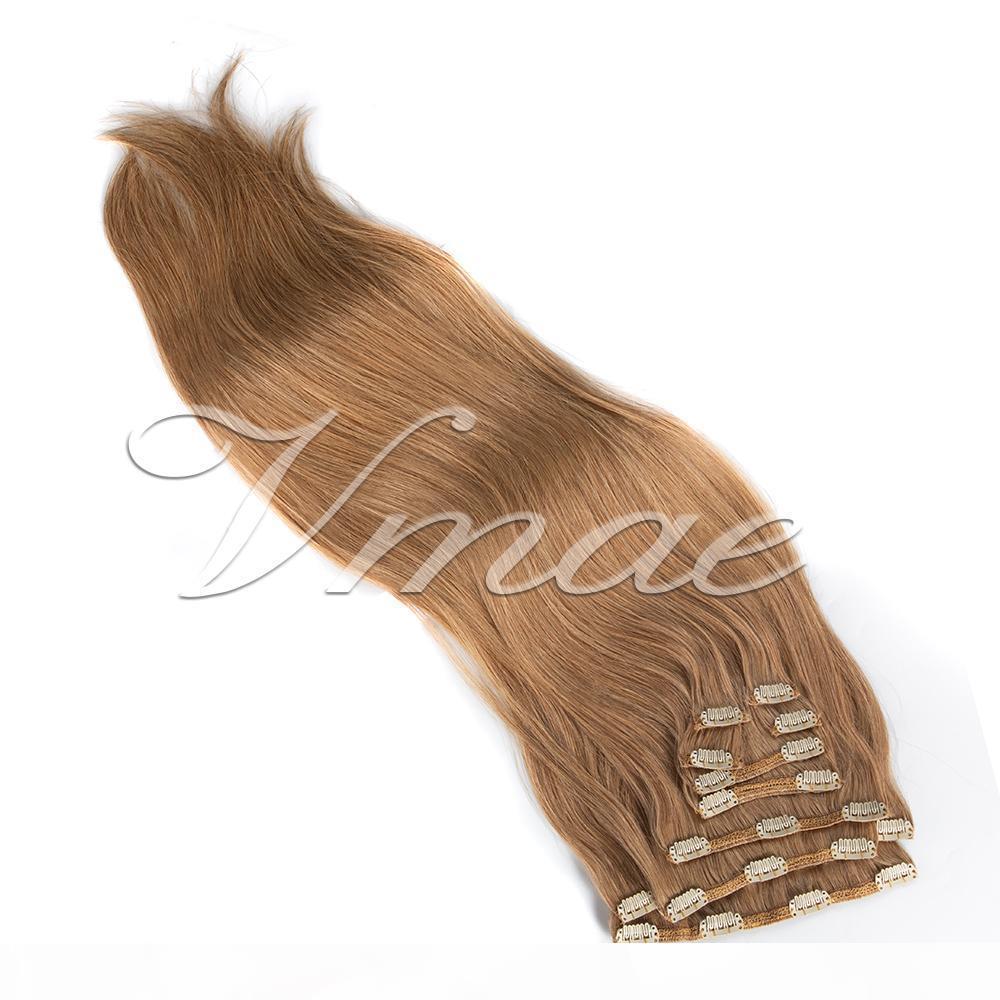 VMAE бразильские 100% необработанного 120g Natural Color Brown 613 Straight Clip In Virgin Remy выдвижения человеческих волос