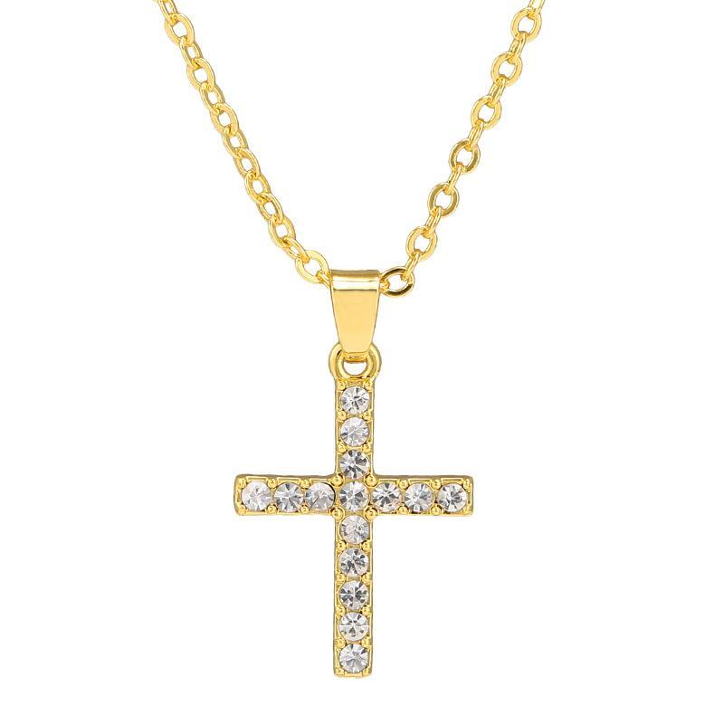 여성 골드 여러 가지 빛깔의 빛나는 라인 석 십자가 펜던트 목걸이 체인 보석 선물 스테인레스 스틸 패션 보석 목걸이