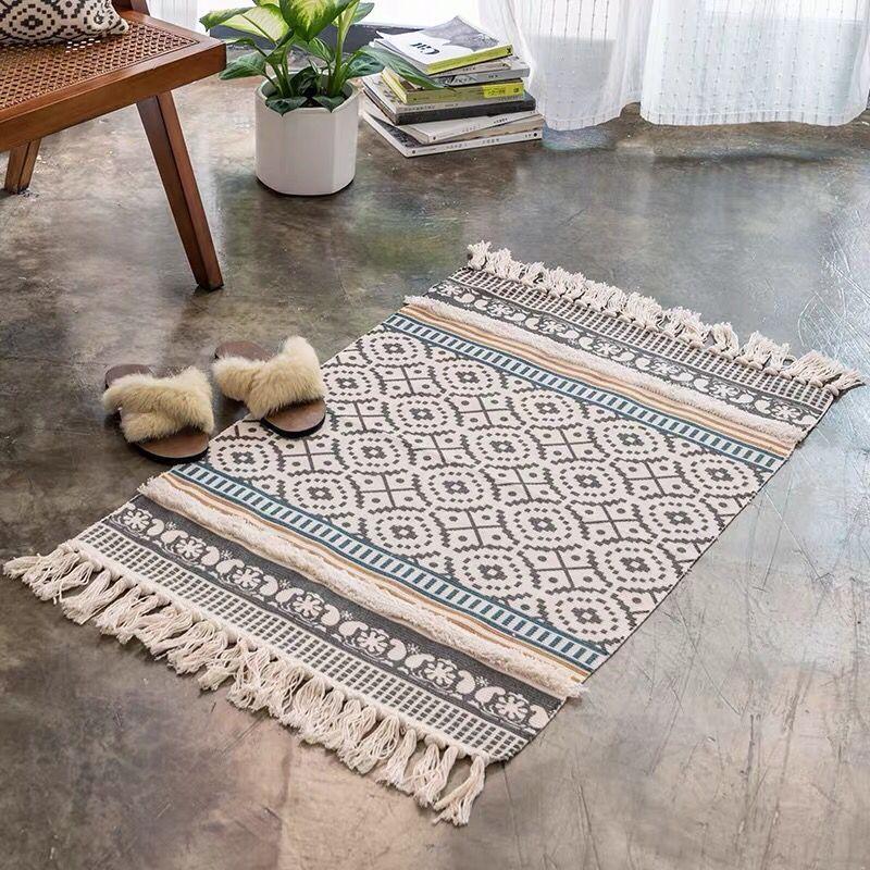 Carpets Cotton Linen Carpet Floor Mat For Home Living Room End Table Tapestry Hand Knitting Tassel Sofa Cushion Area Rug