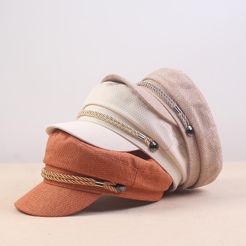 2020 Мода Solid Visor Hat осень и зима Урожай Лоскутная Берет Cap для женщин Стиль Flat Cap