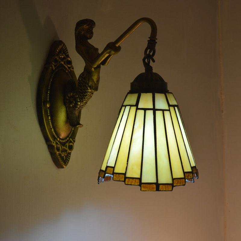 Tiffany Mermaid Wall Lamp Vintage Deco Bathroom Mirror Staircase Bedroom Stained Glass Retro Sconce Indoor Lighting