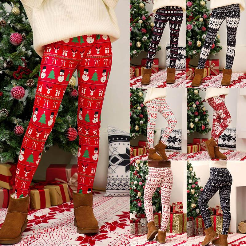 Women Christmas Pants Snowflake Deer Print Leggings Ladies High Waist Stretch Tights Plus Size Pencil Trousers Female Christmas Clothes 0509