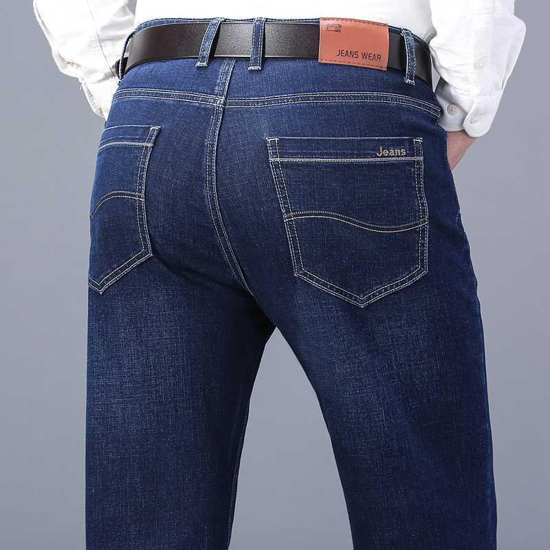 droite Jeans Hommes 2020 Mode Homme d'affaires Denim Pantalon Robe Casual Vintage Bleu Pantalon automne et en hiver Jeans d'homme
