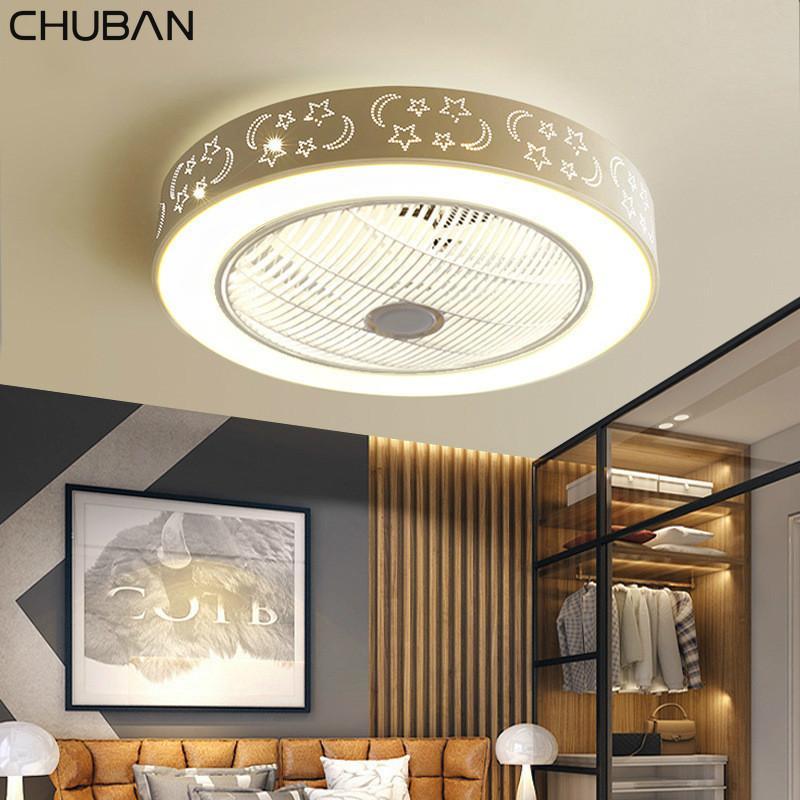 Современные потолочные вентиляторы с огнями Белый Окрашенный Железный акриловые LED Fan Light Диммируемый Спальня Гостиная Вентилятор лампы дистанционного управления
