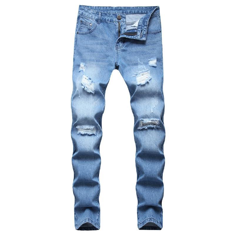 2020 de la mode masculine jeans déchirés rayures moulante Skinny hip-hop motard bleu clair extensible pantalon en denim taille 40 42 Plus
