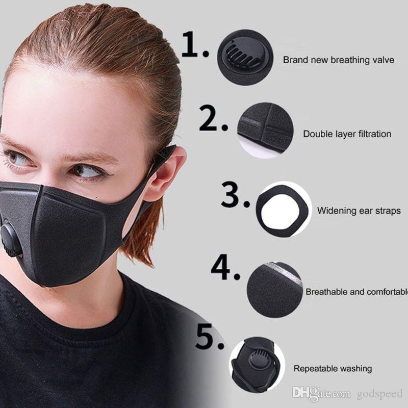 Réutilisable Valve respiratoire Anti Anti-allergique Masques bouche pollution tissu Masque anti-poussière