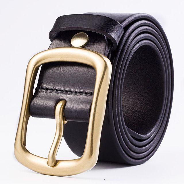 Correas de la manera hombres de la correa de la correa 100% cuero de la vaca superior de la correa de cobre hebilla de la aguja de 3,8 cm de anchura Negro café casuales cinturones masculinos 02