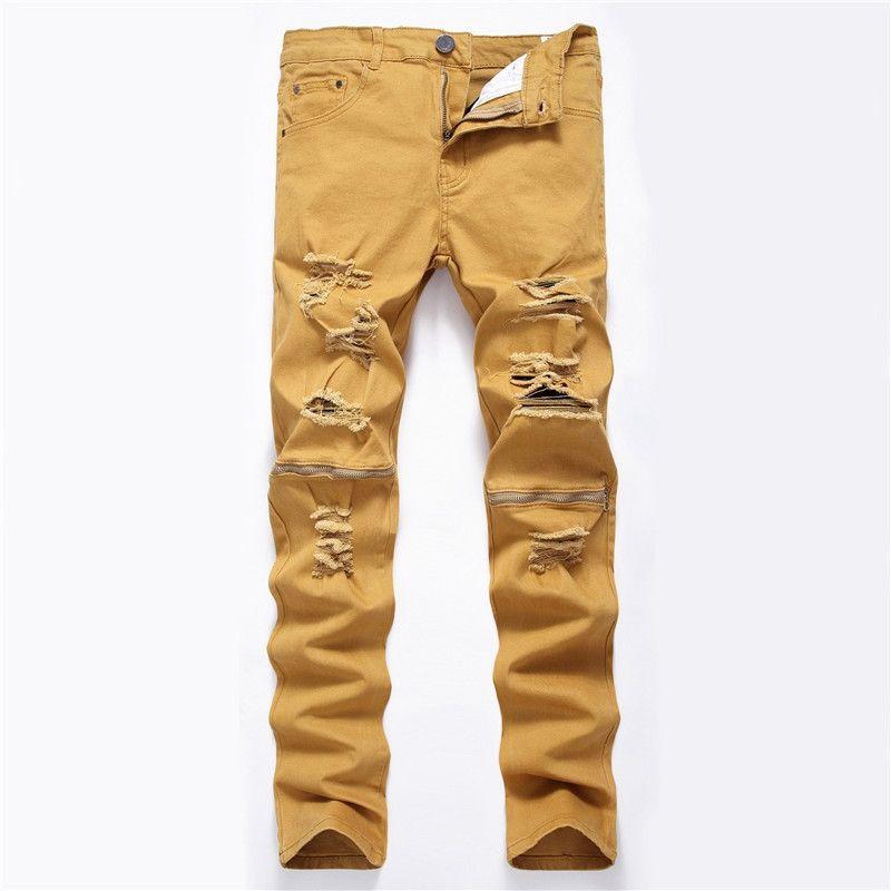 Новые мужские джинсы Тонкий Fit Дыры Zipper Stretch Брюки Trend белый черный уничтожить хип-хоп случайные ежедневные Демин джинсы для мужчины