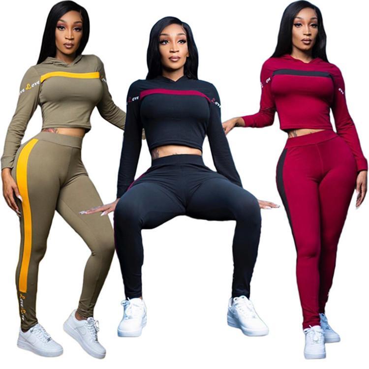 Womens abiti a maniche lunghe 2 pezzi tuta da jogging sportsuit camicia leggings abiti pantaloni felpa vestito di sport klw4935 vendita caldo