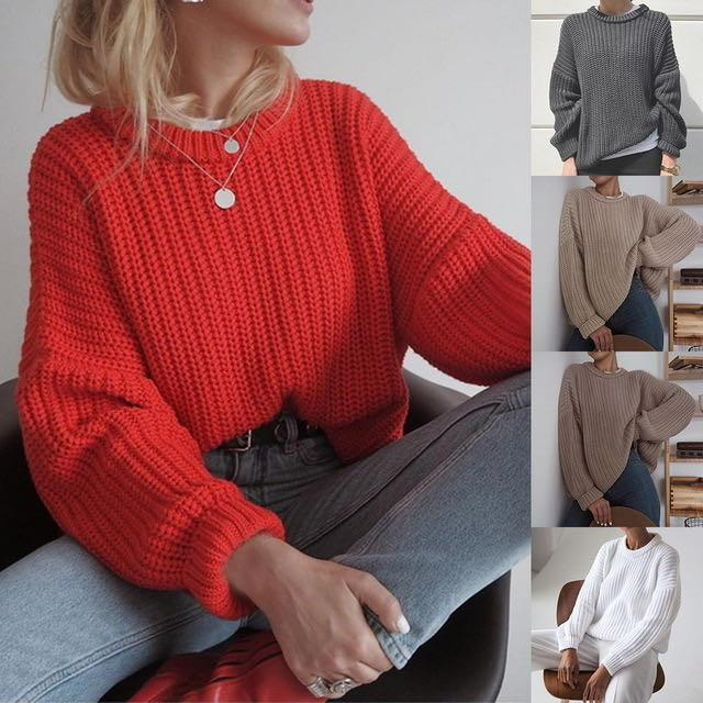 2020 Элегантная осень Крупногабаритные свитер Женщины Сплошной Сыпучие вязаные свитера женщин с длинным рукавом пуловер Женский Jumper Кашемир New