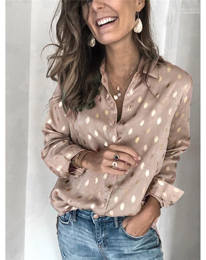 Casual Famale vestiti della molla del progettista delle nuove donne di Pois shirt bavero Long Neck modo del manicotto