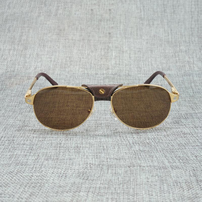 Doppia Vintage uomini sunglasses Santos fascio ovale Rivet Occhiali da sole Donne per Club esterna telaio in metallo Occhiali Oculos Accessori Ch01