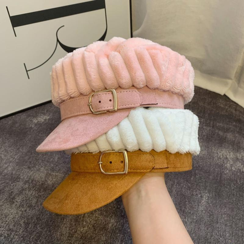 202009-yu762225622 invierno de gamuza difusa cinturón de ocio de señora ala octogonal mujeres sombrero gorra de visera