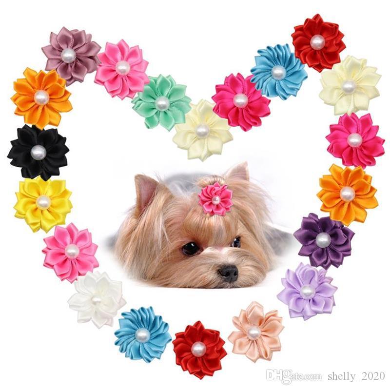 Мода Pet Puppy Dog Cat бигуди Резинки Цветы Pearls Уход за животными Аксессуары Бантики для волос зоотоваров