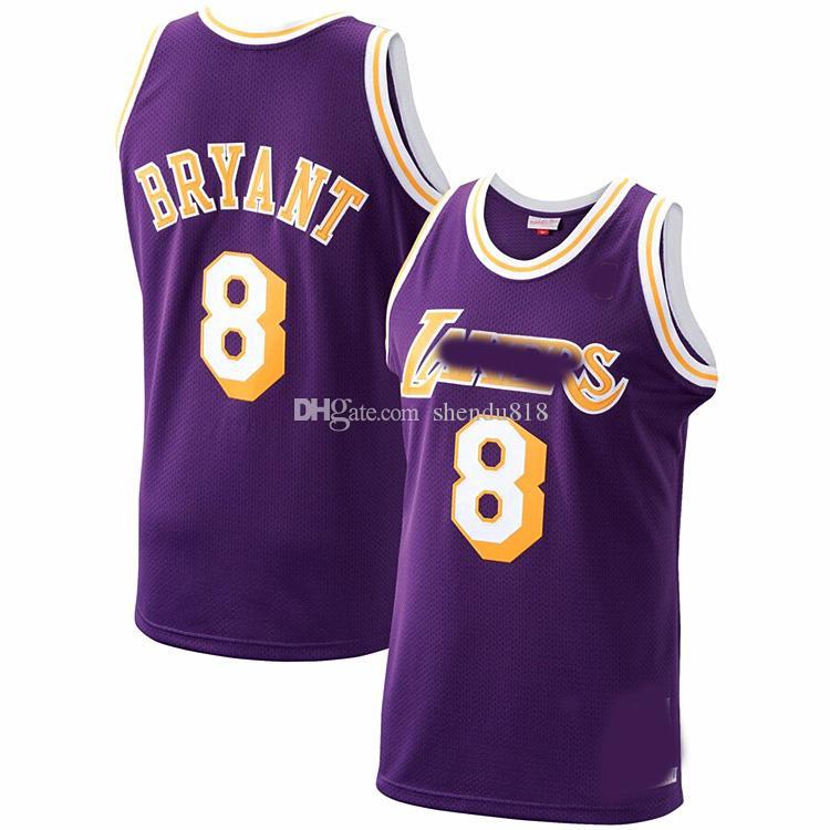 Erkek LosAngelesLakersGerileme Jersey824BryantYellow Basketbol Formalar Basketbol Şort Mor 11 16