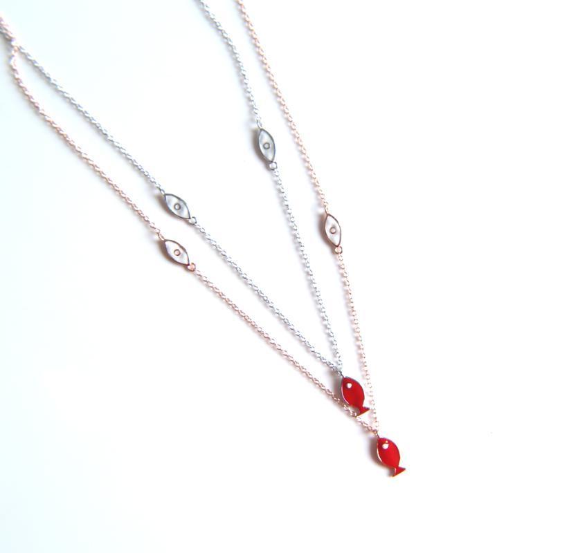 Sterling Silber Farbe Halsband Invisible Fisch Linie Emaille Halskette Auge Anhänger Hals cz Frauen Claviclekette Lady Feminino Kragen