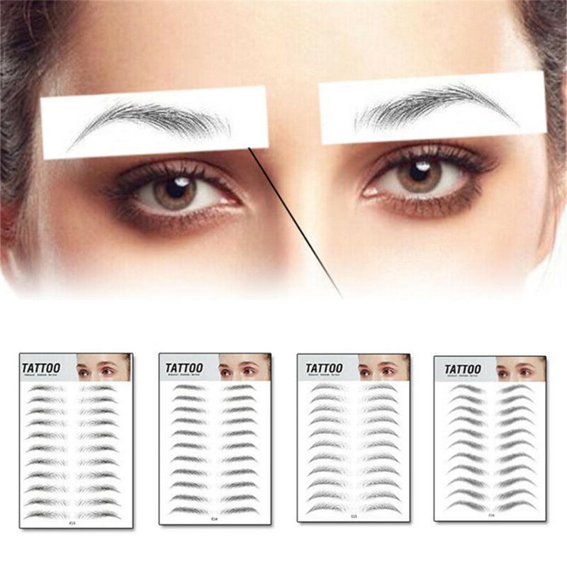 Ceja 3D Sticker Bionic cejas semi-permanente de transferencia de agua a prueba de agua tatuaje del ojo de la frente herramientas del maquillaje de cejas bordado Parche