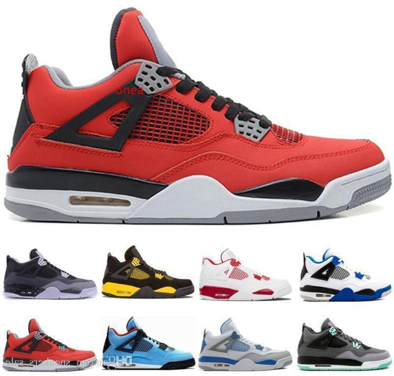 con boxGlow toro bravo verdes 4s zapatillas de deporte zapatos de los hombres de cemento blanco de baloncesto de diseño Miedo Rojo Fuego Paquete con la caja criados calzado deportivo estadounidense 8-13