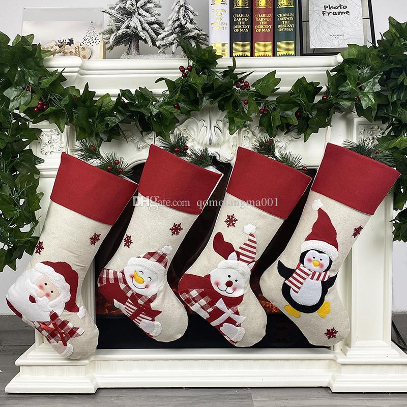 Christmas Stocking Non-woven Fabric Santa Claus Snowman Penguin Pattern Christmas Stockings Creative Gift Bag Candy Bag Christmas Decoration