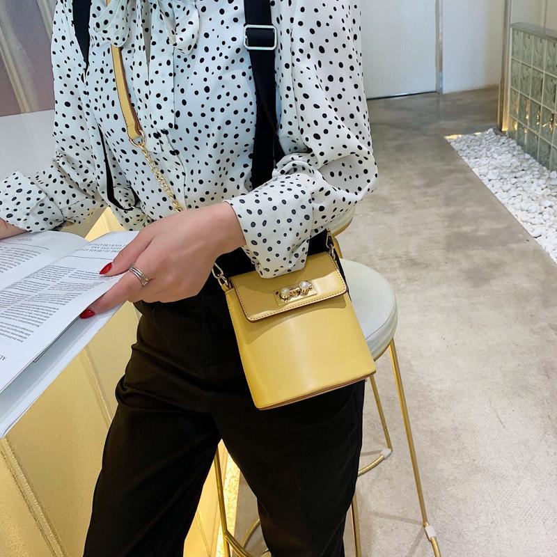 Schulter Messenger Qmwwu Schulter Schnalle Mini Tot Taschen für Taschen Perle Frauen Weibliche Crossbody Messenger Bag Kette Handtaschen PU-Leder CFKRG