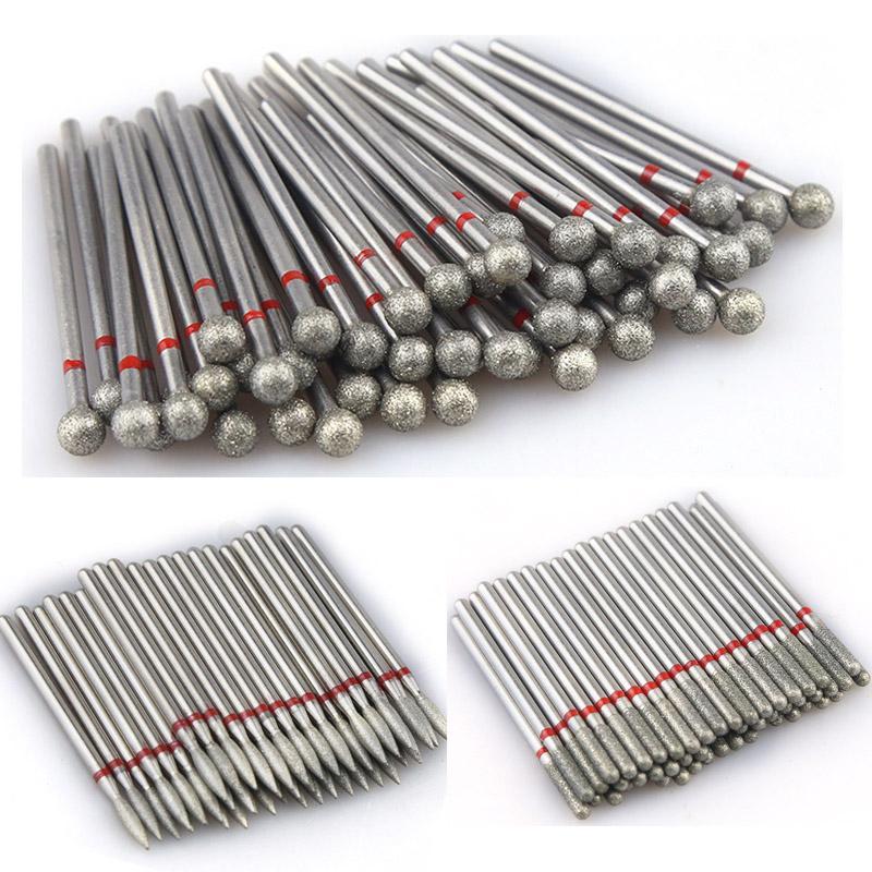 30PCS Алмазного борфрез Набор Алмазный Резак для маникюра Набор Электрического Nail Drill Bit фрезы для Nail Art Tool