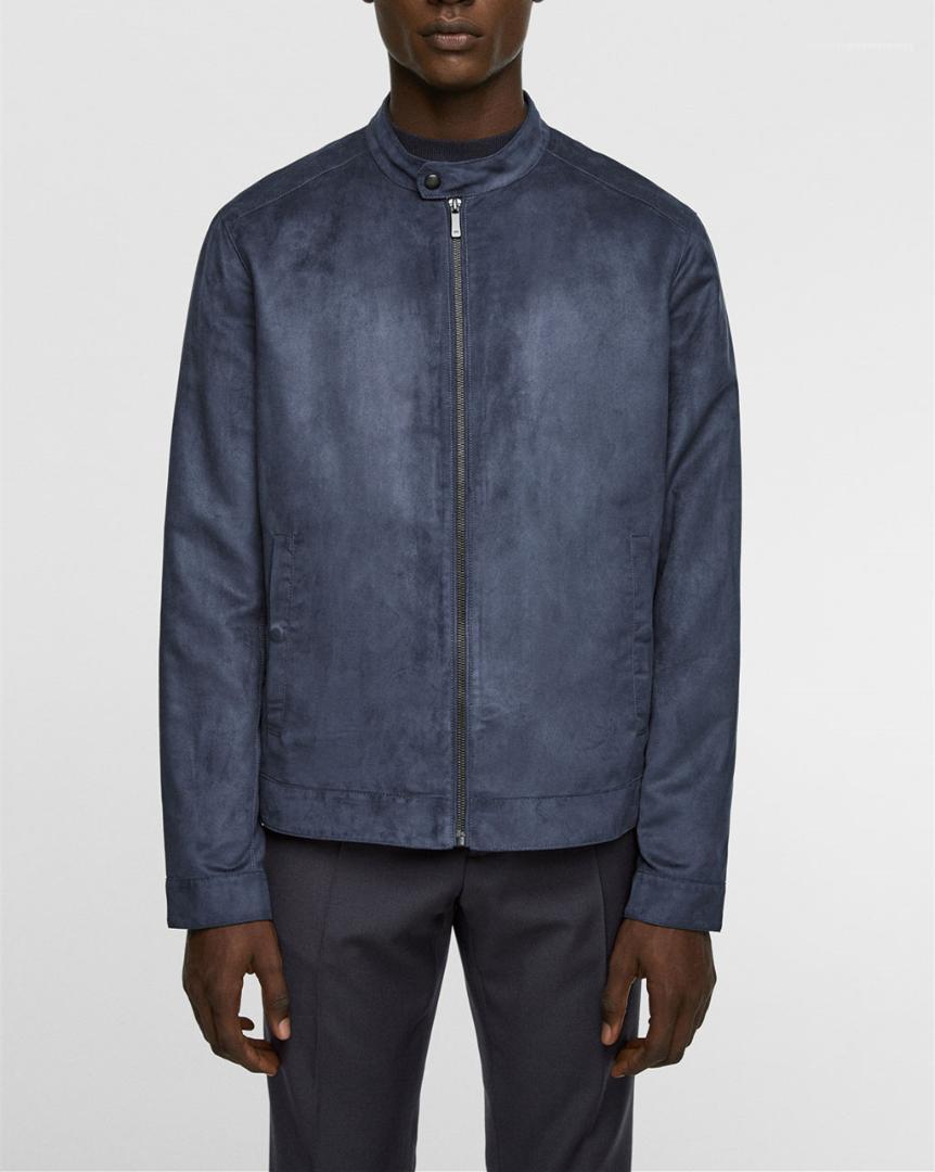 Cappotto pelle scamosciata del Faux Mens giacca designer autunno Mens Moda Slim collare del basamento del rivestimento del progettista urbano Mens