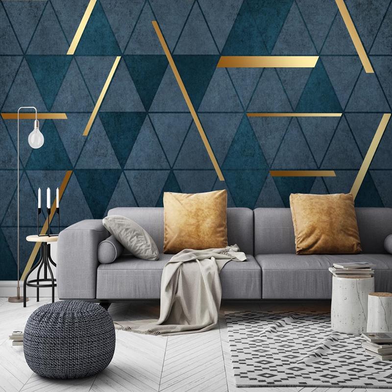 La foto de encargo 3D geométrica abstracta moderna de lujo Mural Dormitorio Antecedentes Sala de estar Sofá TV decoración del hogar papel pintado murales