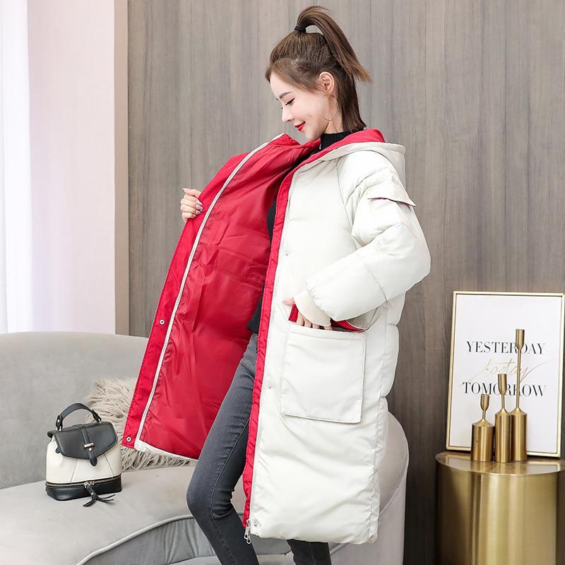 Moda Feminina Médio Longo com capuz de Down Parka Quente jaqueta de algodão acolchoado Inverno Mulheres New Color Contrast Grosso Oversize Chic T200909 Brasão