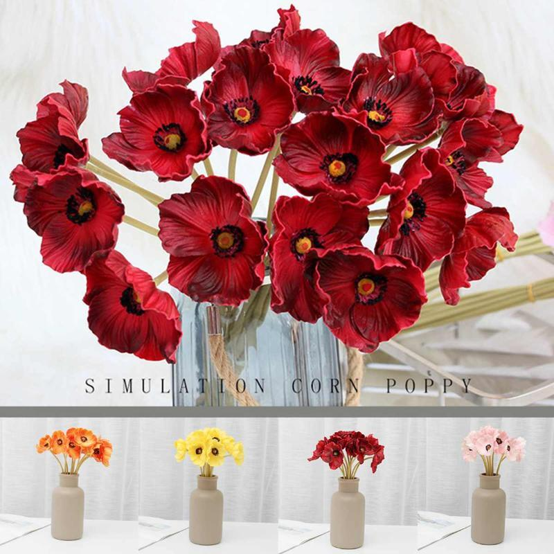 2pcs Artificial Mini Corn Poppies Fake Poppy Flower Wedding Party Home Decor