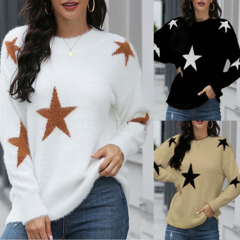 mujer suéteres Maglione Moda Donna girocollo maniche lunghe in maglia casuale allentata stampa della stella maglioni lavorati a maglia maglione ropa mujer