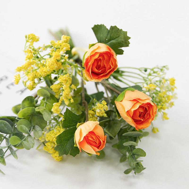 Schöne künstliche Rosen-Blumen-Mini Silk Diy handgemachte Eukalyptusblätter Brautstrauß Hochzeit Hauptdekor-Fälschungs-Verzierung New