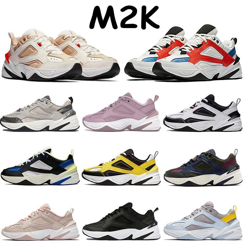 أعلى M2K تيكنو أحذية الرجال مكتنزة أحذية رياضية عارضة جو رمادي بارد الأسود أسود أبيض مجموع البرتقال البلاتين لون البرقوق الرجال الطباشير الأحذية