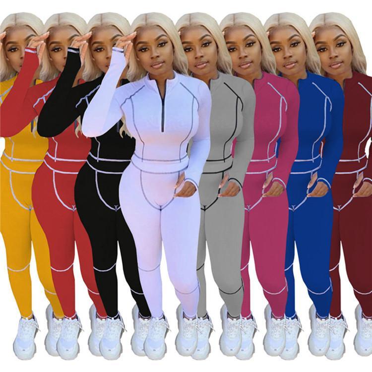manches longues de femmes 2 pièce ensemble survêtement de jogging Sportsuit costume pantalon sweat-shirt tenues leggings chemise sport H2133 vente chaude