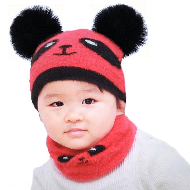 8MCRx 20 autumn and winter New Cartoon warm cute double fur ball panda hat men's and women's plush baby Warm cappullover cap pullover capkni