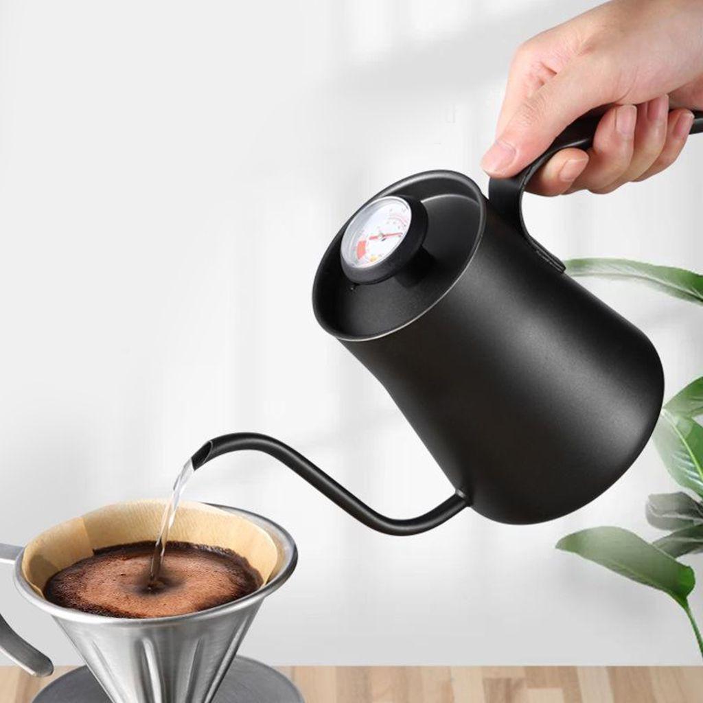 Шток из нержавеющей стали чайника W / термометр Залить кофе чайник