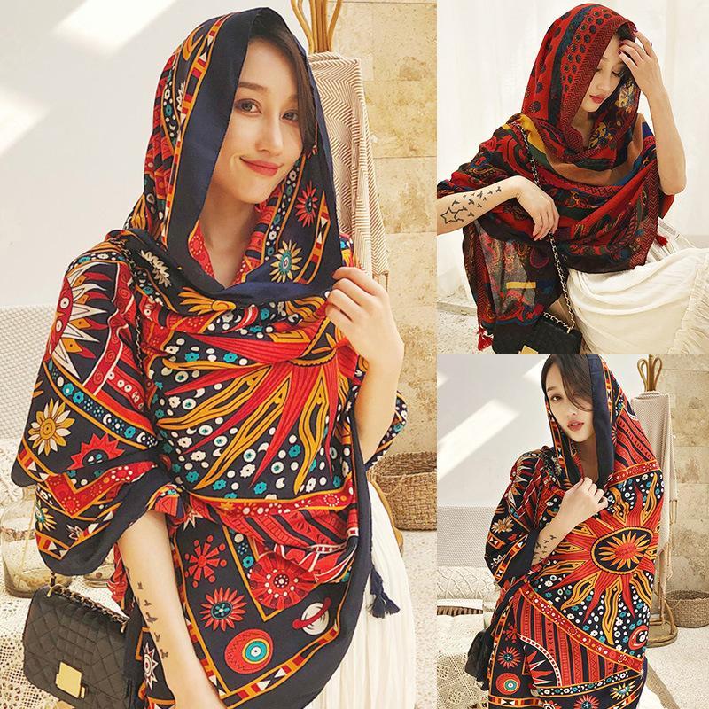 الأوشحة 2021 الخريف الشتاء وشاح الأزهار المطبوعة أنيقة النساء طويل دافئ التفاف شال الإناث تصميم الأزياء الساحرة الحاضر