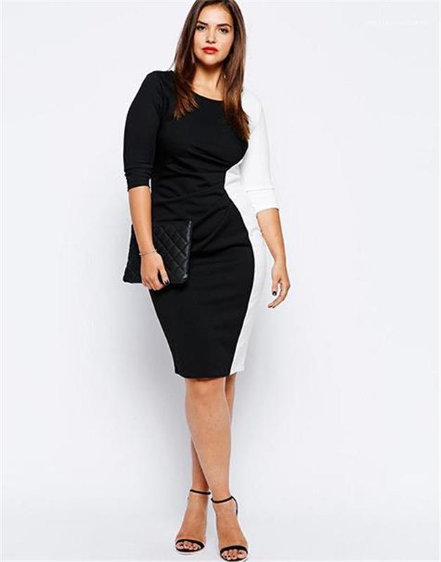 BODYCON Elbiseler Moda Siyah Kadın Giyim Tasarımcısı Bayan Kalem Elbise Plus Size Patchwork Renk Uzun Kollu Seksi Bayanlar