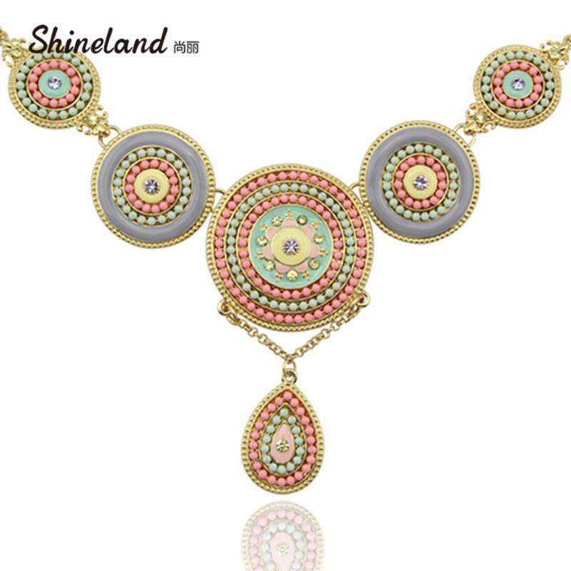 2020 femmes Collier romantique récent or couleur ethnique ronde en résine Bohême Perles Déclaration Pendentif Colliers lien Bijoux chaîne