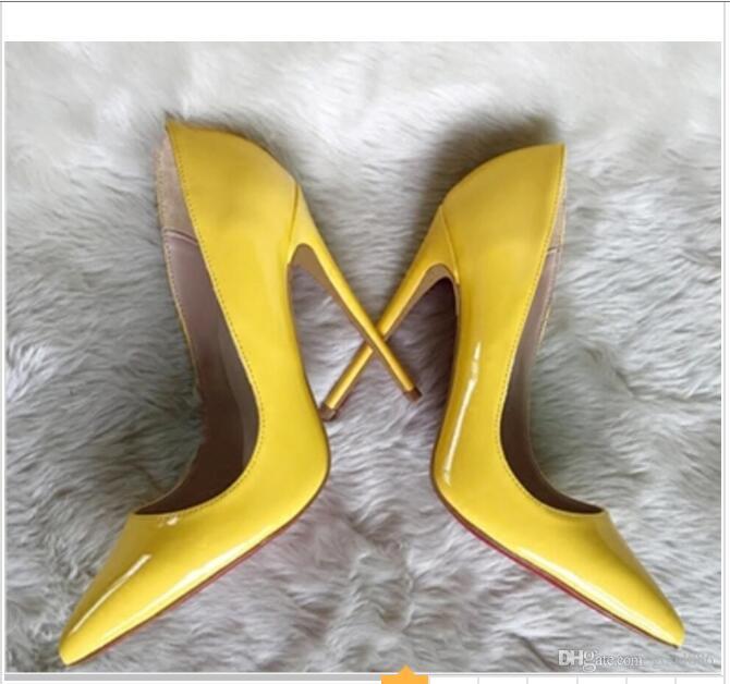 Yeni stil sarı lake yüksek topuklu ayakkabılar sivri sığ ağızlı tek ayakkabı İnce topuklu 8 cm 12cm 10cm büyük boy 44 5 renk parti dans