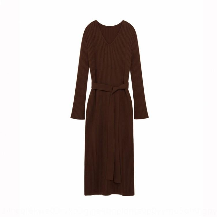 luFz5 2020 осень длинная зима новых женщин длинный свитер платье свитер поверх платья колена изящным и рукав базы трикотажное P2P5o