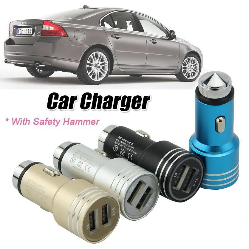 Metal Safty Hammer Car Chargers 5v 2.1A Dual USB Charger Universal Adapter 1.8A for real for smart phone