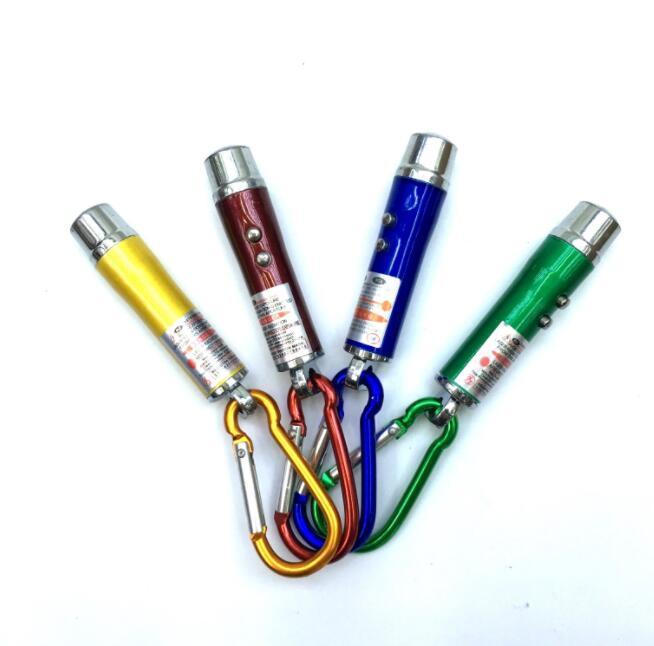 أضواء LED سبيكة البسيطة مضيا الألومنيوم الشعلة مع حلقة تسلق 3 in1 وسلسلة مفتاح حلقة البسيطة مضيا مؤشر الليزر الأحمر الدائري كيرينغ