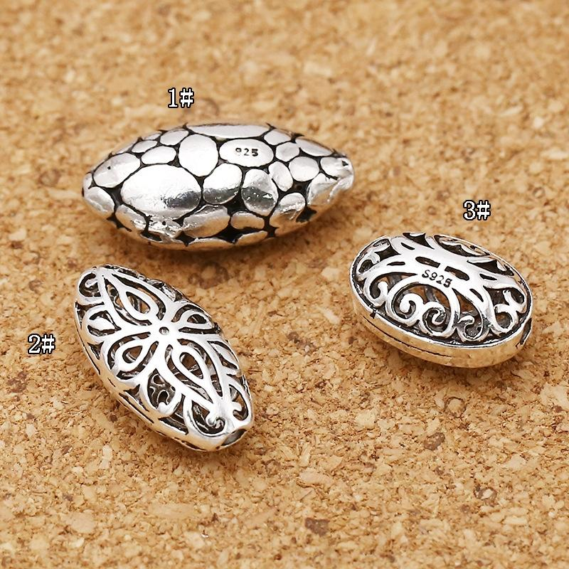lHZcq S925 bijoux en argent sterling Thai accessoires bricolage plat perles en argent de 10 mm Diy enfiler des perles perles d'olive creux-out