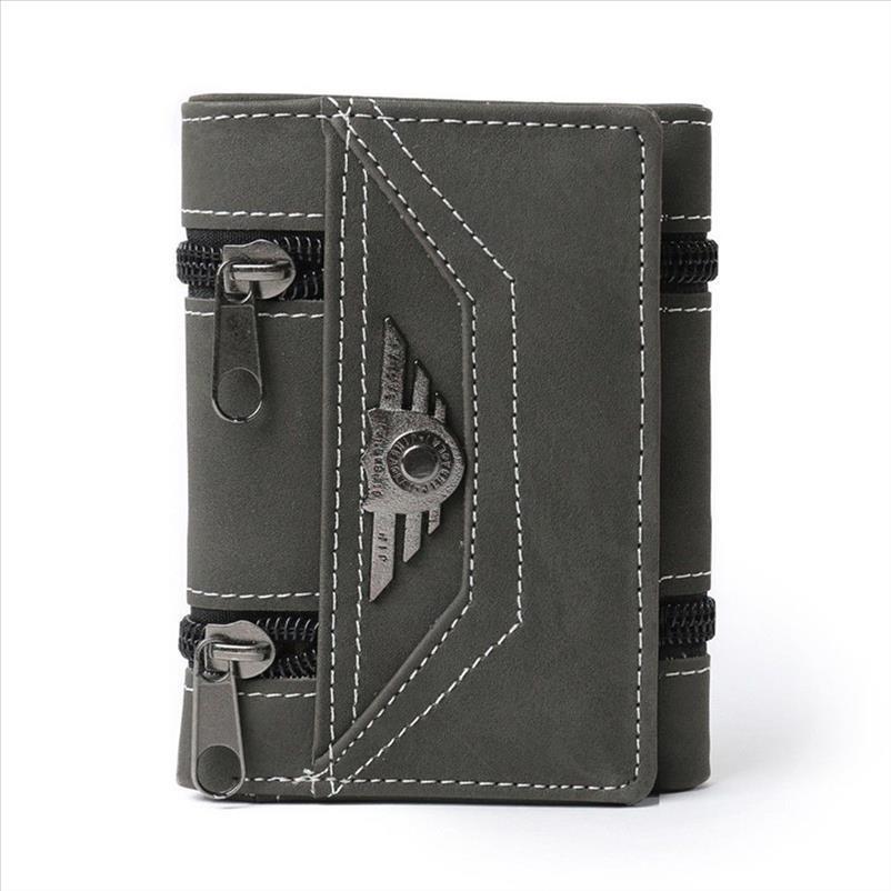 Neue Qualitäts-Entwurfmens Tri fold Kredit ID-Karten-Halter Pass Fall Portemonnaie Canvas-ID-Karten-Halter Geldbeutel-Mappe