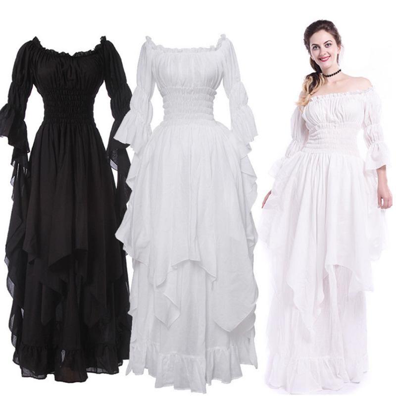 Vintage Victorian vestito medioevale rinascimentale gotico nero donne del vestito di Cosplay del costume di Halloween Prom Princess Gown Plus Size 5XL